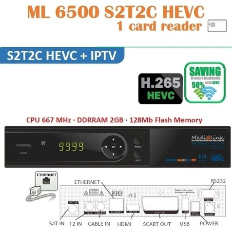 IPTV ML 6500 S2T2C HEVC MEDIALINK